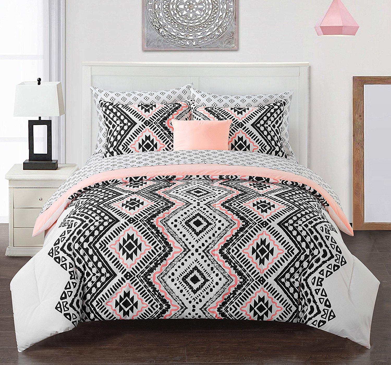 Buy Lo 6 Piece Girls White Black Coral Pink Aztec Comforter Full Set