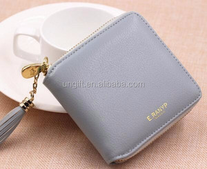 Top quality Square women coin purses holders wallet leather female money designer tassel wallets famous brand women wallet