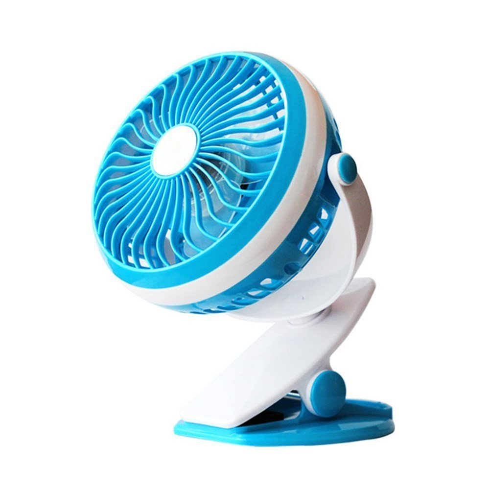 Sendida Mini USB Portable Fan - with Rechargeable Battery, Stroller Clip on Table Fans, Speed Adjustable, 360 Degrees Rotate and Quietness (Blue)