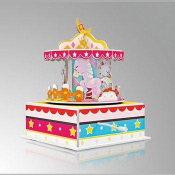 Happy Birthday Carousel DIY 3D Puzzle Handmade Music Box For Kids