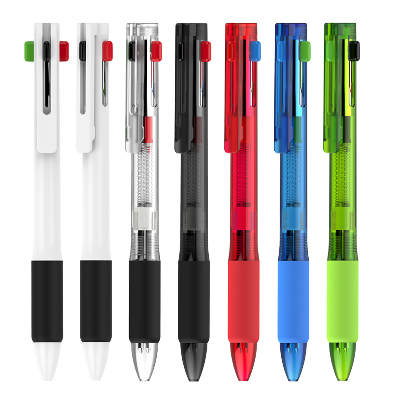 Empat Warna Plastik Refill Bola Pulpen Kustom Logo Pribadi Pens