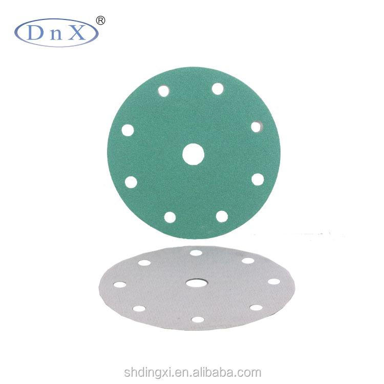 6inch 9holes hook and loop Aluminium Oxide pet film abrasive sandpaper for polishing paint