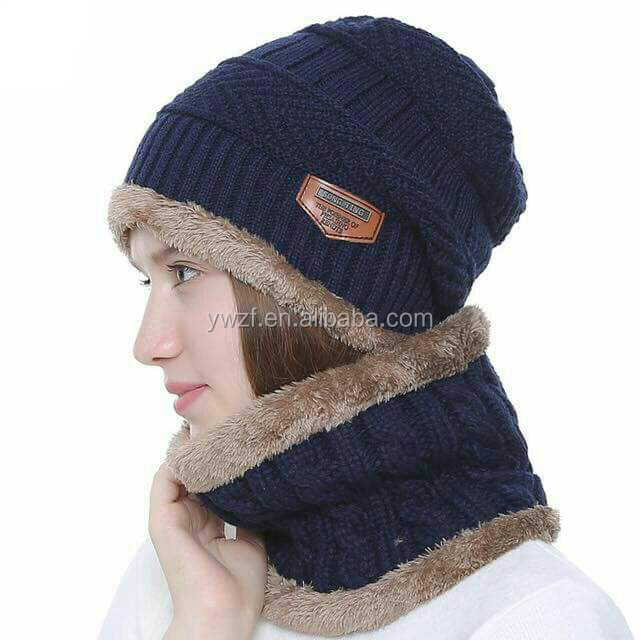 <strong>New</strong> Women's Knitted Winter <strong>Hat</strong> with Scarf Set Beanies With Neck Warmer Set infinity scarf