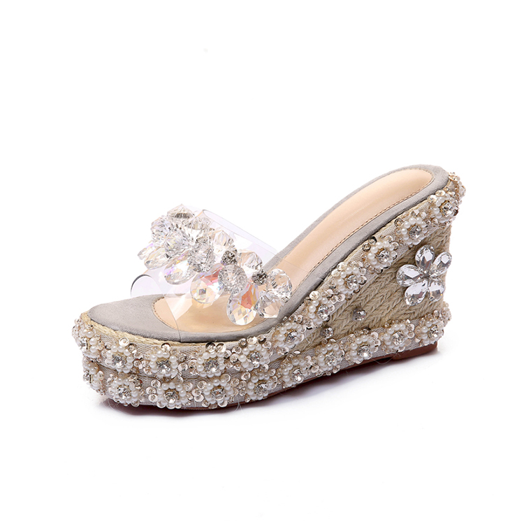 ladies fancy end elegant pearl ornament flowers vogue design high heel platform slippers