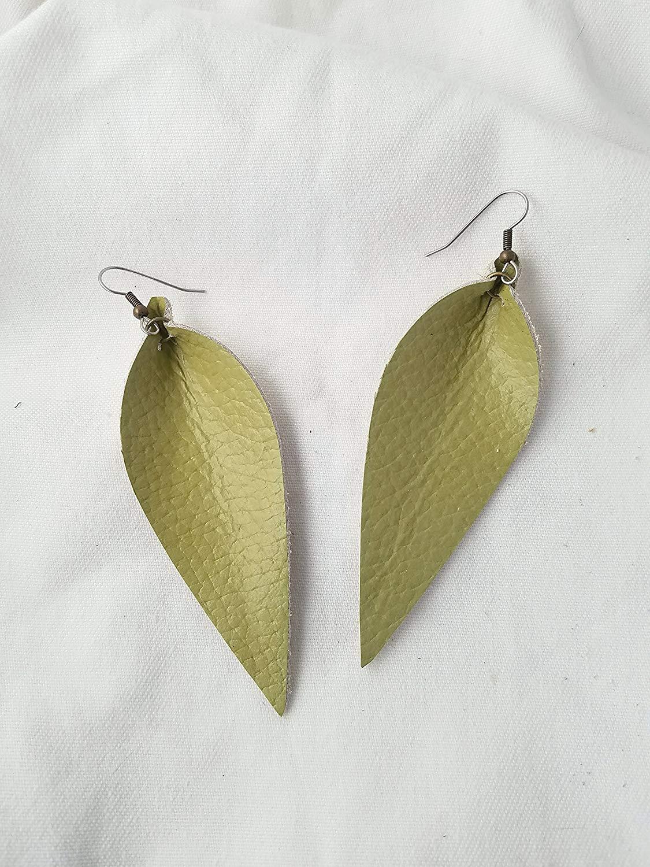Green Tea/Leather Statement Earrings - Large/Joanna Gaines Earrings/Leaf