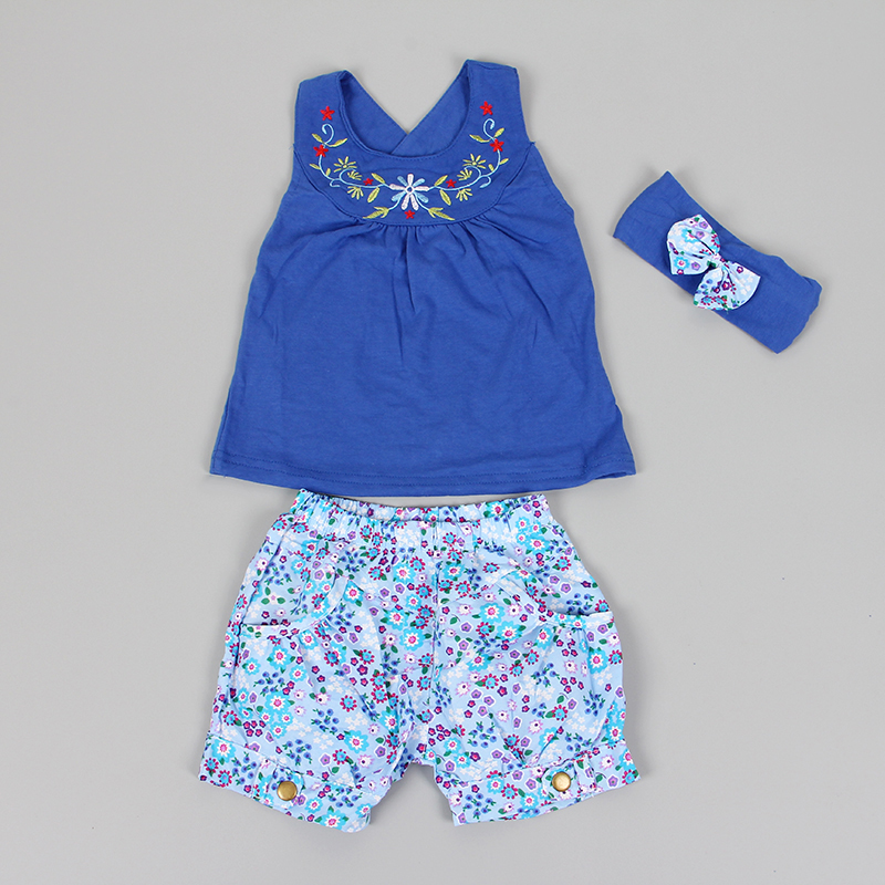 Wholesale children boutique Sleeveless embroider baby clothing of 100% cotton Baby clothing suit