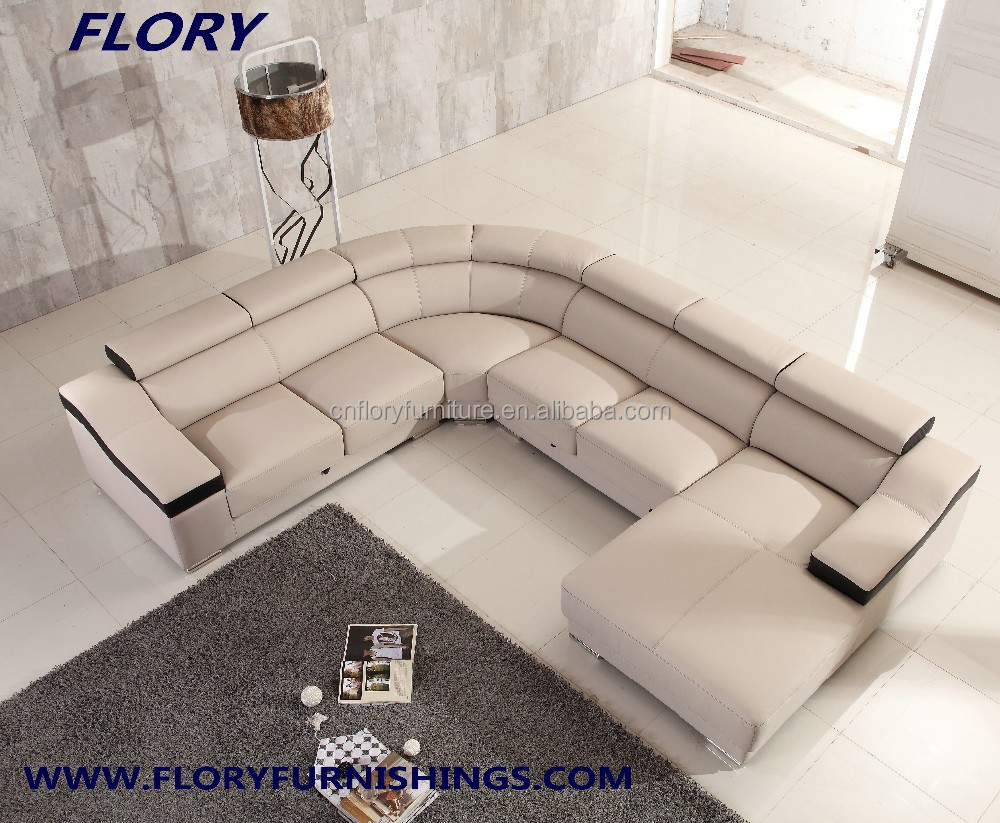 Modern U Shape Sectional Sofa With Extensible Seat And Head Rest