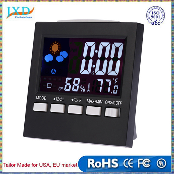 Multi-use Digital Thermometer Hygrometer Colorful LCD termometro Clock Alarm Snooze Function Calendar Weather Forecast Display