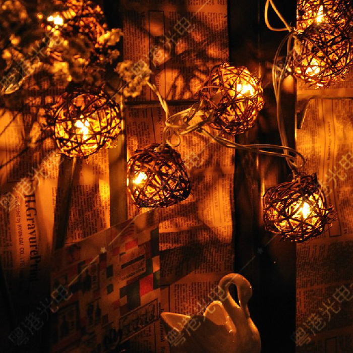 Outdoor Vintage Patio Globe String Lights Rattan Ball Light For Yard Tree  Ornament