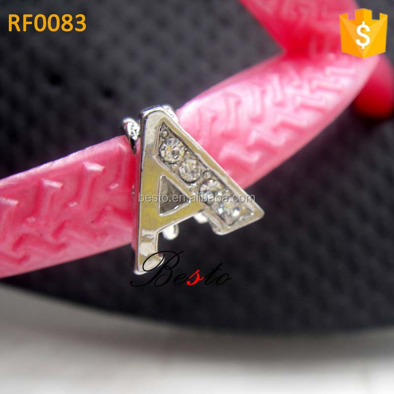 Vintage fashion small size crystal alphabet letters A flip flop shoe clip for slippper