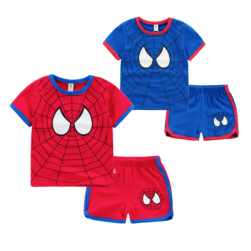 Spider Man Boys Clothes 2015 Baby Cartoon Thin Short and shirt set Novelty O-neck Character Baby Boy Summer Wears
