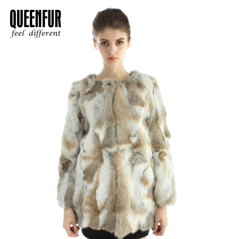 QUEENFRU New fashion women classical round collar real rabbit fur coat