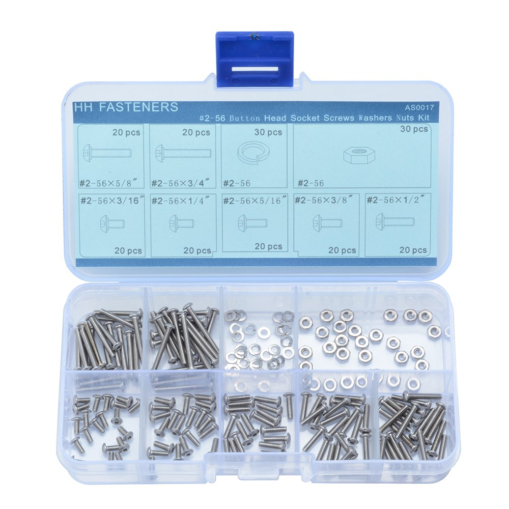 #2-56 UNC Stainless Steel Button Head Socket Cap Screw Hex Nuts Spring washers Assortment Set