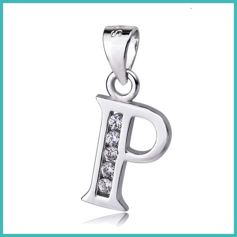 Fashion Jewelry 925 Sterling Silver Letter P Pendant with cz