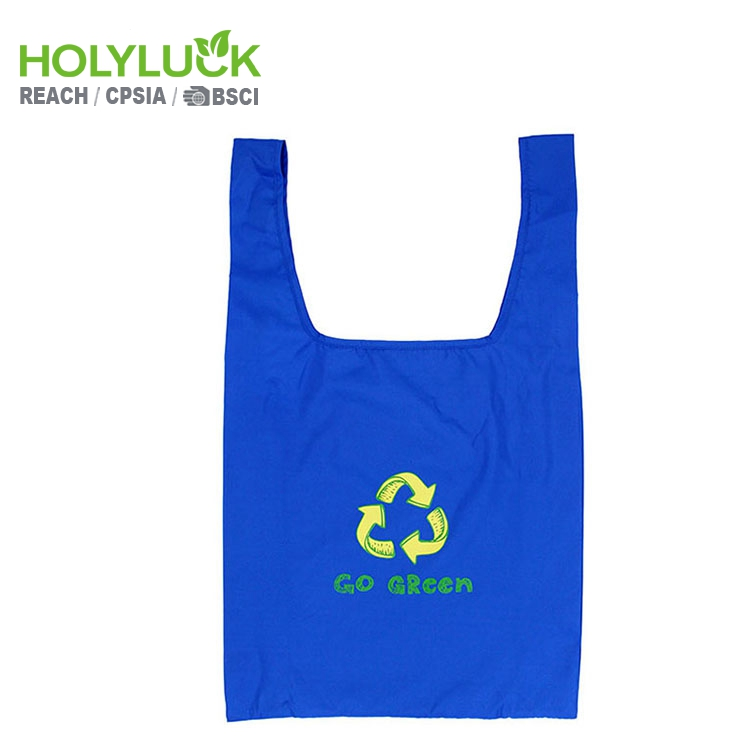 T-shirt Ripstop Blue Polyester Strawberry Folding Away Nylon Foldable Reusable Shopping Bag