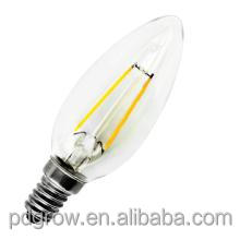 C35 2W Comercial Lighting Hotel Chandelier Candle Bulb Retrofit LED Filament Bulb E14 E12 B15 Base