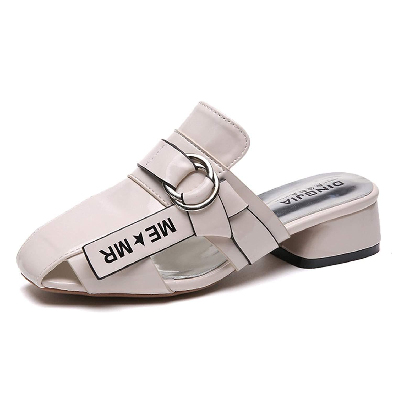 Zarachielly Women Inspired Slingback Slit Mule Heel Flat Strappy Low Heel Shoes