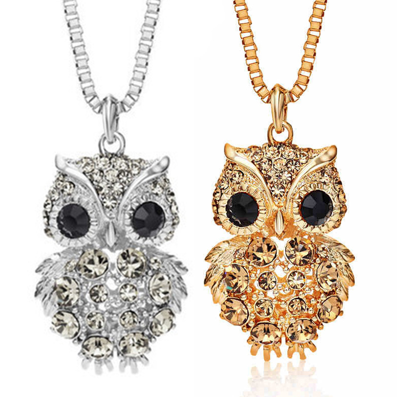 Cystal Rhinestone Owl Pendant Long Chain Sweater Necklace Elegant Women Gold/<strong>Silver</strong>