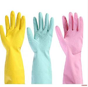 Kitchen Glove Hot Selling Net Texture Design Clean Washing Clothes Kitchen Chores Latex Gloves Solid Household Dishes.(Pack of 3 pair)