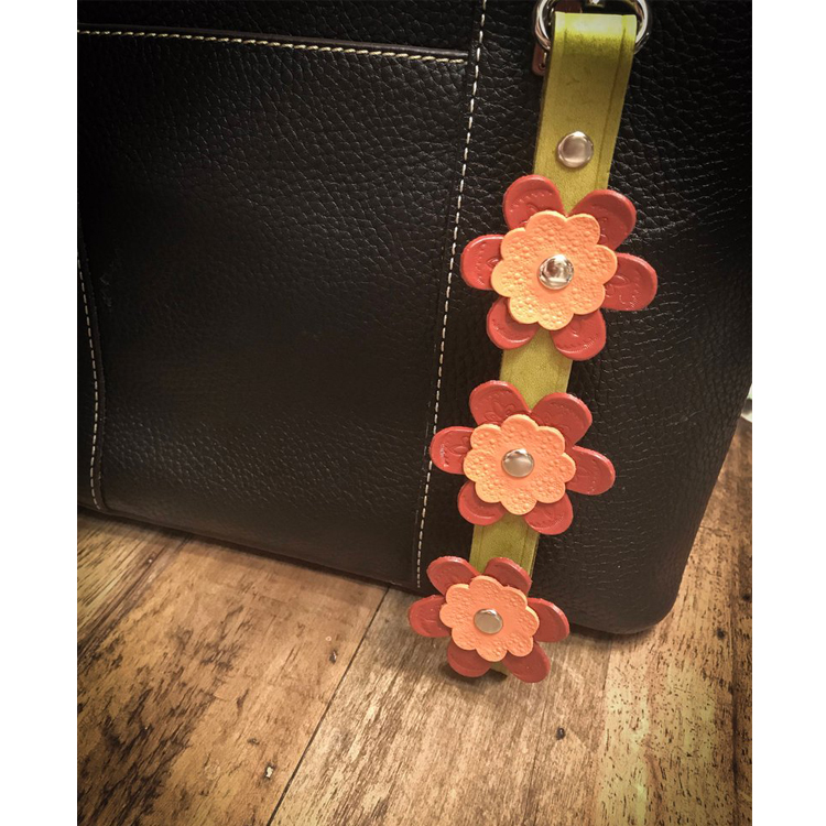 Leather Floral Keychain Wristlet, Purse Key Charm, Cute Keychain for Bag
