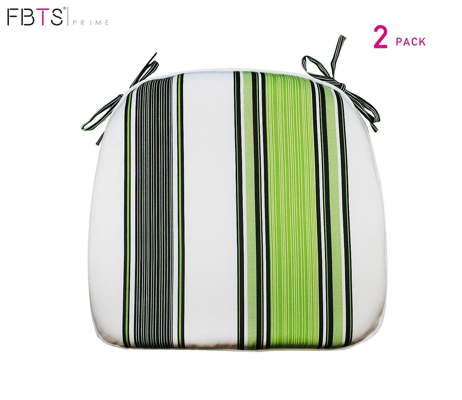 FBTS Prime Outdoor Chair Cushions (Set of 2) 16x17 inches Patio Seat Cushions Navy Green and White Stripe Square Chair Pads for Outdoor Patio Furniture Garden Home Office