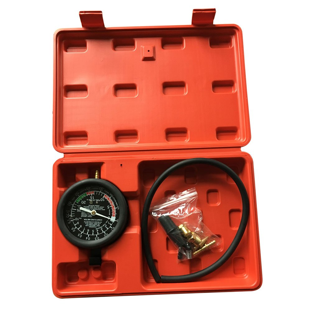 Fuel Pump & Vacuum Tester Gauge Kit Leak Carburetor Valve Pressure Diagnostics Test Tool Set for Car Truck With Case