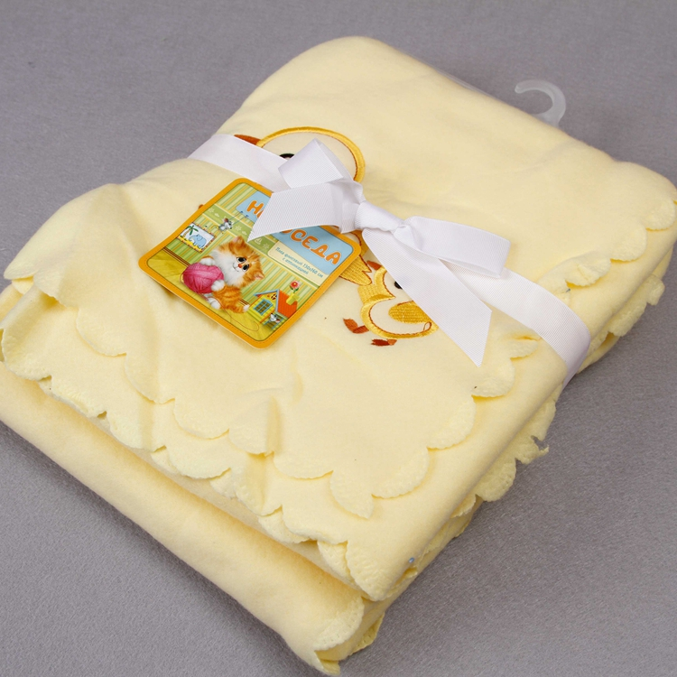 Factory Sale Cheap embroidered promotion kids blankets polyester polar fleece in bulk opp packing