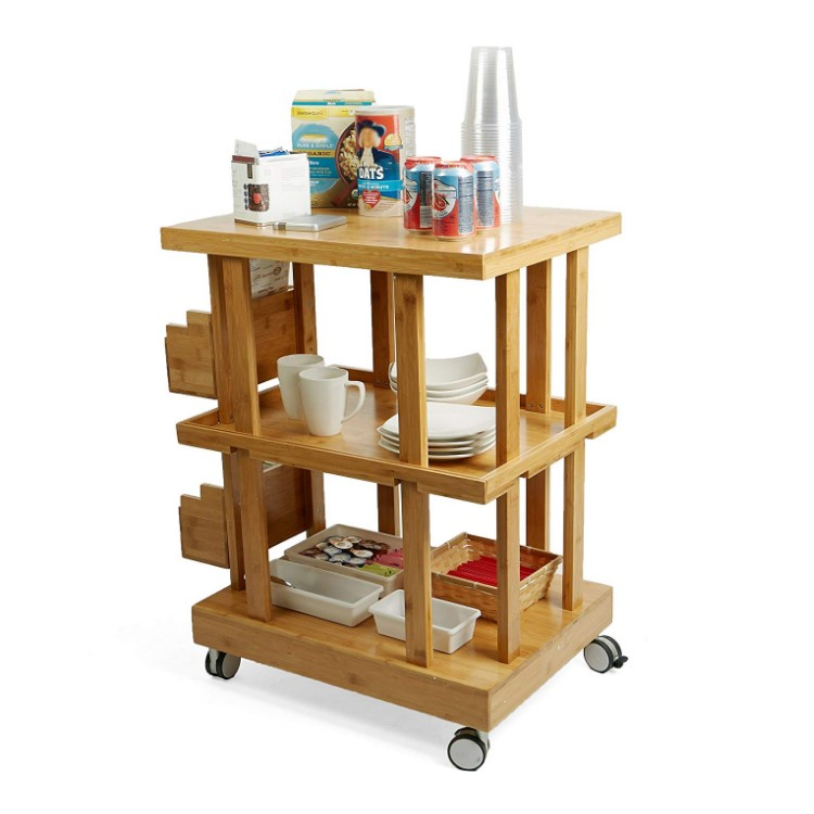 3-Tier Bamboo Wood Kitchen Utility Cart with 2 Storage Compartments 9