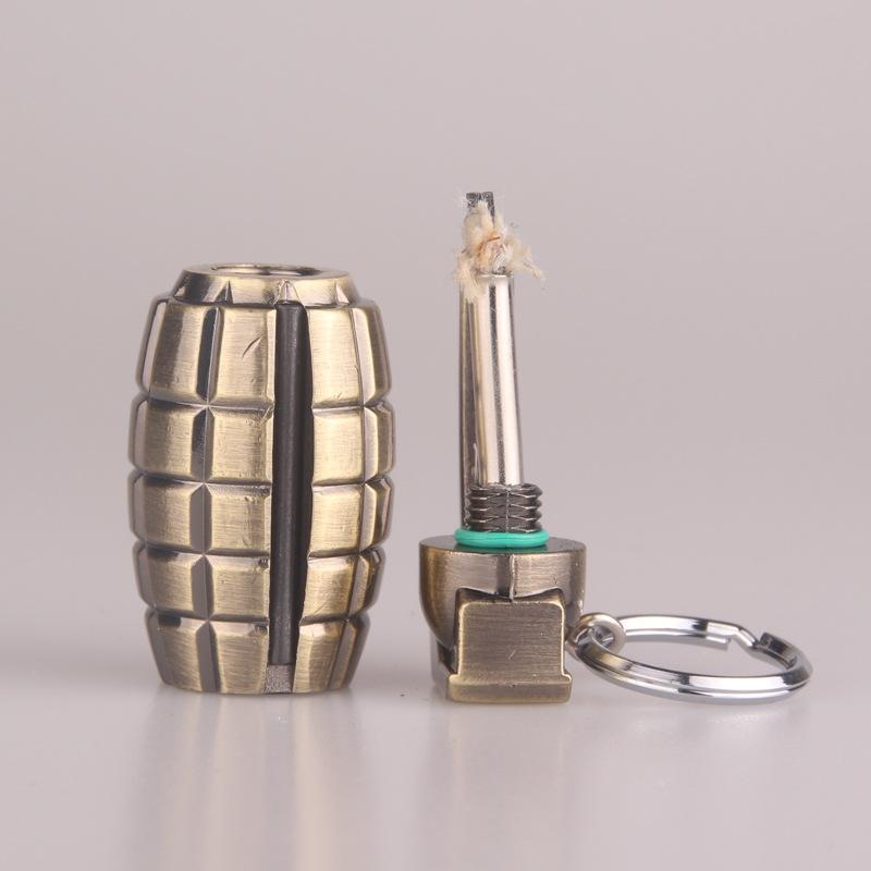 Бронзовая Grenade Зажигалка Масло Керосин Легче брелок легче Творческой Личности Мужчин Зажигалка Подарки