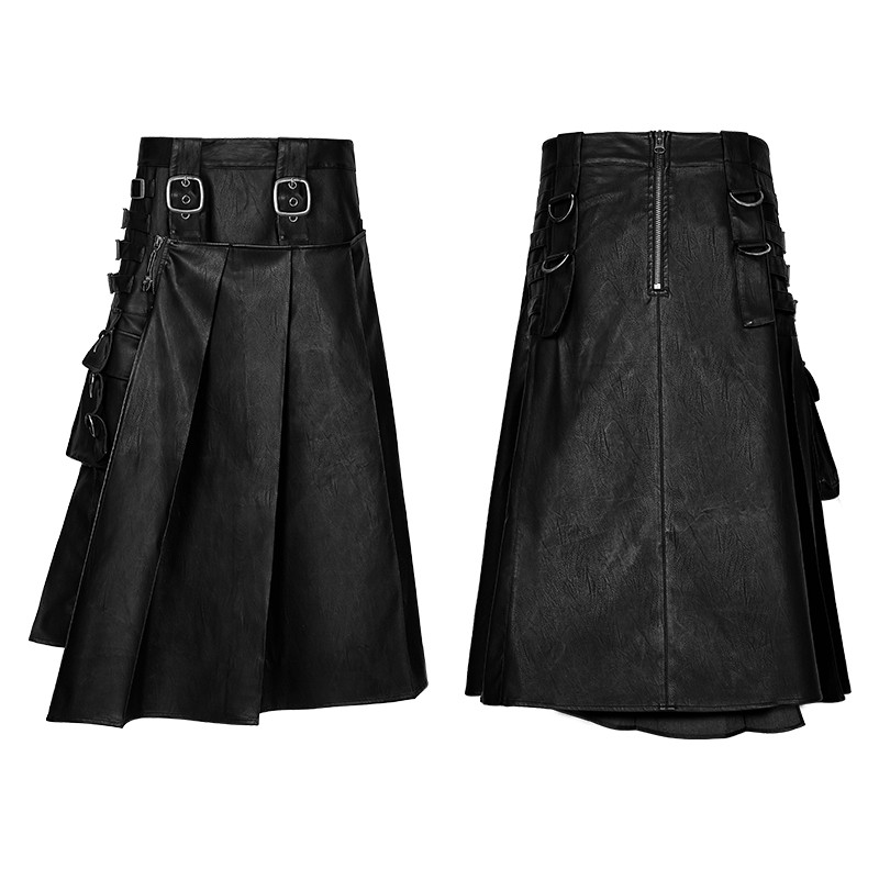 Q-322 PUNK RAVE Gothic PU Leather Spanking Raised Male Skirt