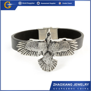 LRB0274 alibaba website new products leather bracelet stainless steel eagle bracelet