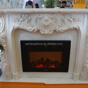 2018 New Design Decorative Natural Indoor Stone Fireplace Mantel Surround Marble