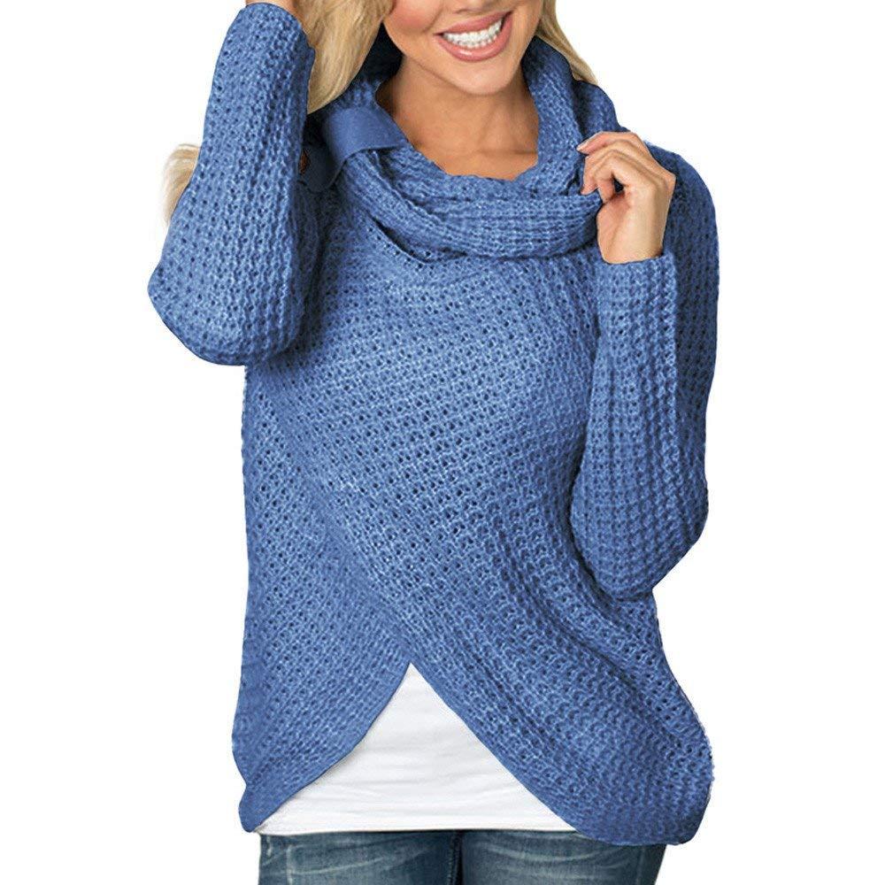 POTO Sweaters for Women,Long Sleeve Turtleneck Knit Cardigan Sweater Sweatshirt Pullover Tops Blouse Shirt S-XXL