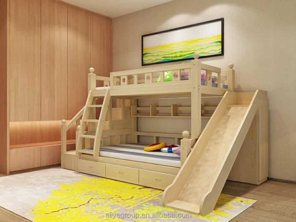 K001 wholesale moda ni os cama litera de madera de dos - Camas con tobogan para ninos ...