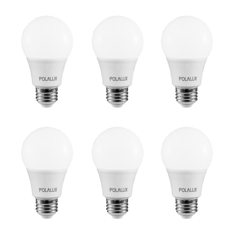 Polalux L500 LED Light Bulb A19 E26 3000K 60 watt replacement 800 Lumens Non-Dimmable bulbs - 6 pack