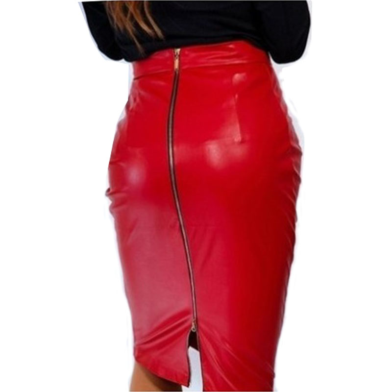 Black Leather Pencil Skirt 96