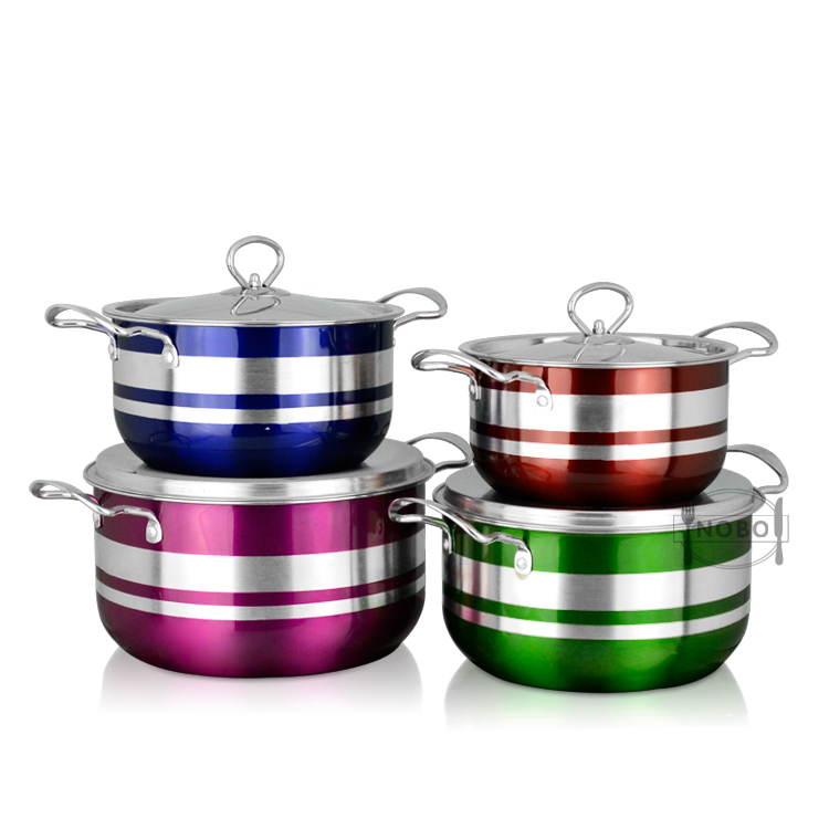 8 pcs stainless steel American style stock cookware set