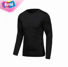 Hommes manches longues noir cyclisme t-<span class=keywords><strong>shirt</strong></span> <span class=keywords><strong>fitness</strong></span> 100% polyester ajustement sec impression personnalisée col rond t-shirts fabricant