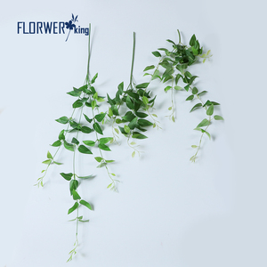 Flowerking brand wholesale real touch honeysuckle leaves green artificial leaves for wall decor