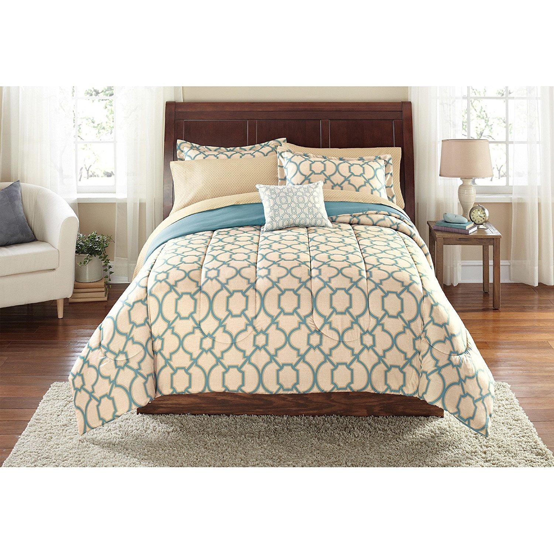 F&W 8 Piece Light Brown Geometric Fretwork Printed Queen Comforter Set Sheets, Beautiful Scrollwork Lattice Moroccan Theme Design, Elegant Artistic Work, Vibrant Tan Sky Blue Kids Bedding, Polyester