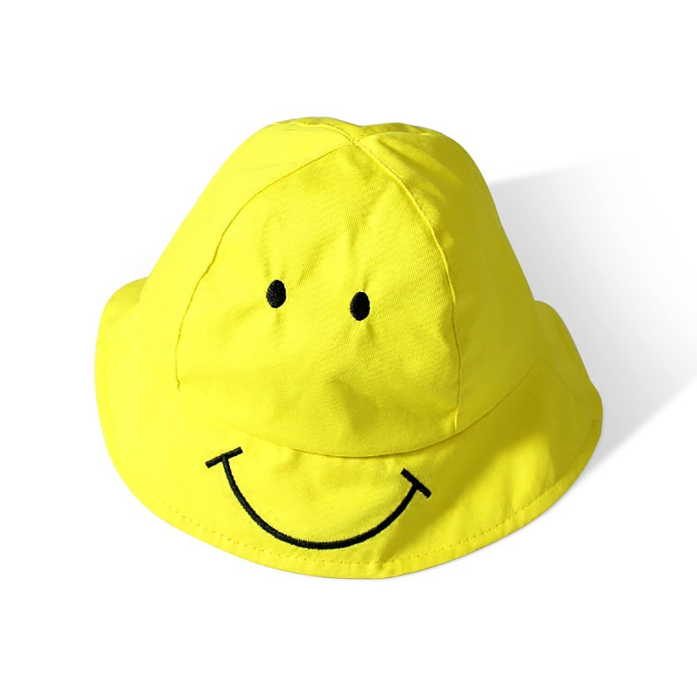 e40b3b8c Get Quotations · 3 Colors Cotton Children's Hats Smiling Face Basin Cap  Infant Baby Girl Outdoor Sun Hat