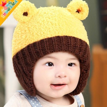 TSW6015 Korean winter infant hat baby boy girl latest cute bear baby warm  hats with earflaps 80bdbef4f08