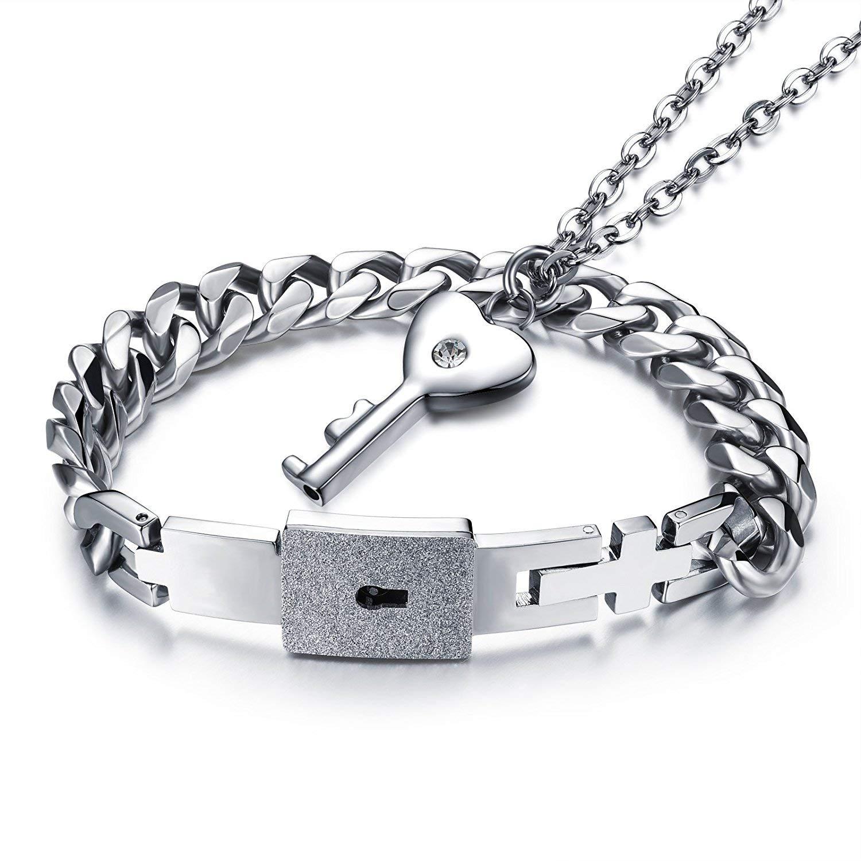 d826d9df4c Get Quotations · JAJAFOOK Stainless Steel Love Lock Bracelet Bangle Heart  Key Pendants Necklace Couples Jewelry