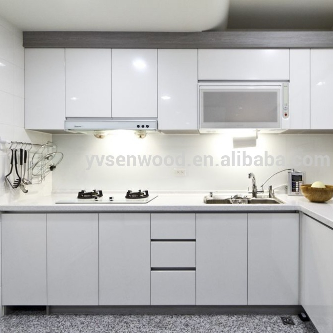 High Glossy Used White Laminated Kitchen Cabinet Door For Acrylic