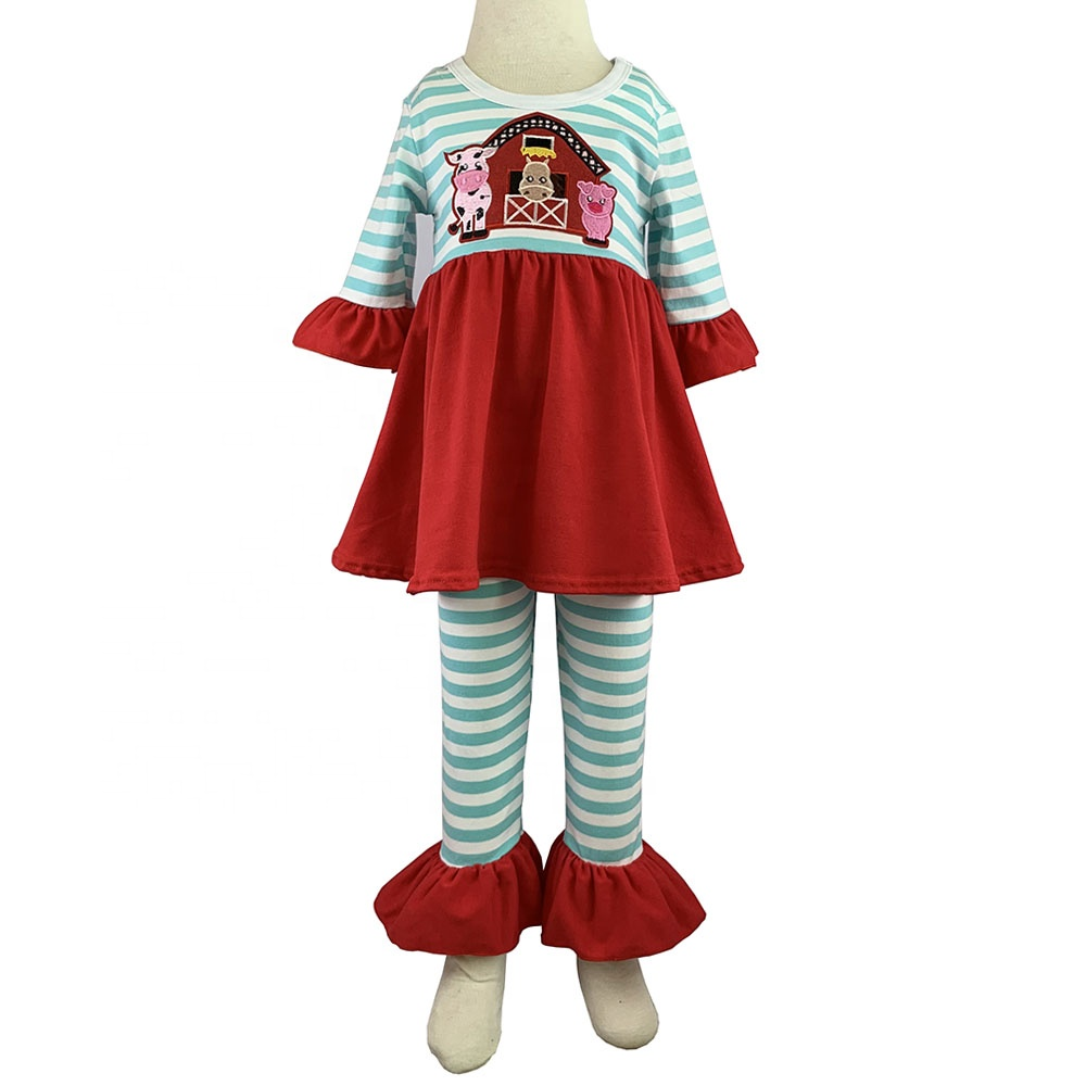 2019 design de mode bébé filles ensembles de vêtements broderie rayé couture robe top match rayé à volants legging pantalon