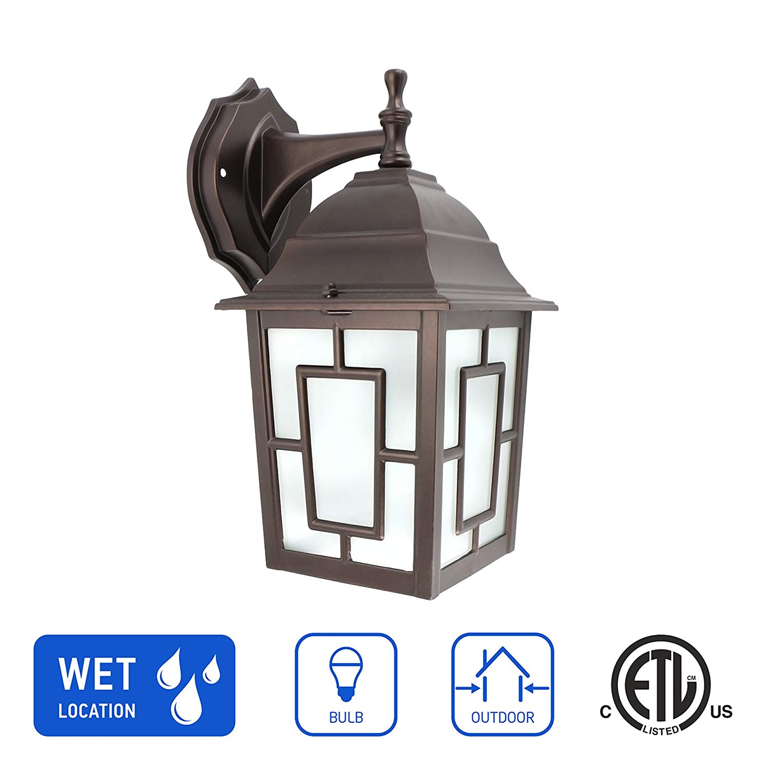 IN HOME 1-Light Outdoor Exterior Wall Down Lantern, Traditional Porch Patio Lighting Fixture L05 with One E26 Base, Water-Proof, Bronze Cast Aluminum Housing, Frosted Glass Panels, ETL Listed