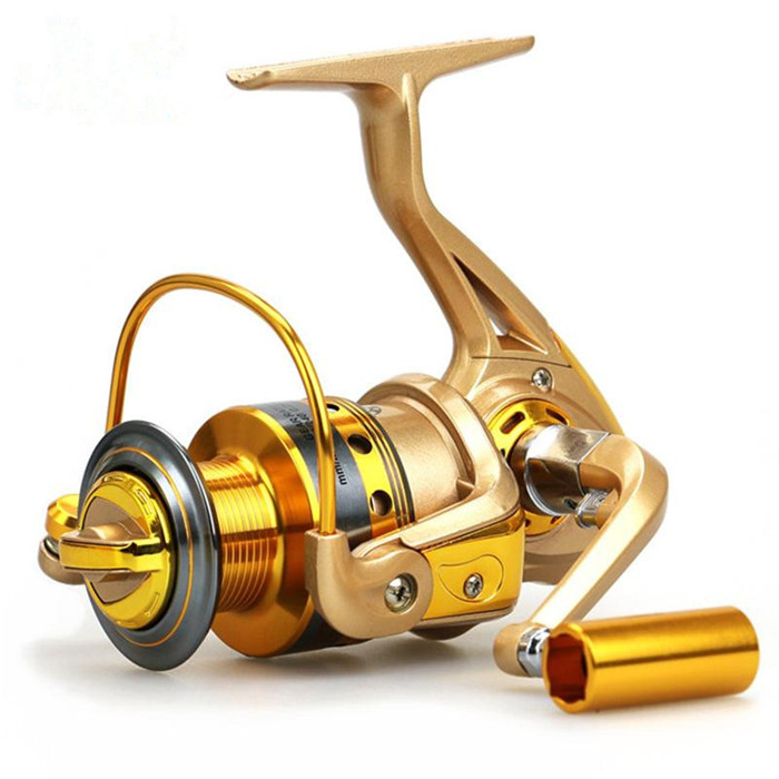 High Quality Spinning Fishing Reel Golden Color 10BB Lure Tackle Saltwater Carp Fishing Feeder Sea Fishing