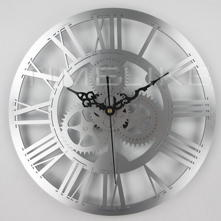 6aaba0b3d9cf Reloj de pared grande del arte del engranaje grande del arte de plata  decorativo rústico de gran tamaño del vintage 3D para el mejor regalo