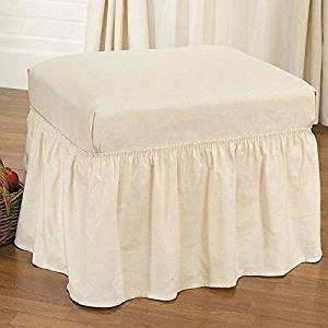 Sure Fit Duck Solid - Ottoman Slipcover - Natural (SF14359)