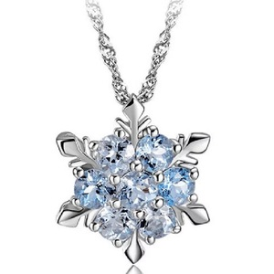Christmas Charm Vintage Lady Blue Crystal Snowflake Zircon Flower Silver Necklaces & Pendants Jewelry